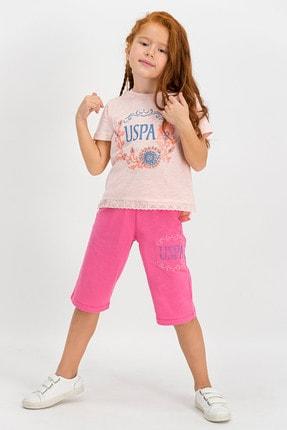 U.S Polo Assn. Lisanslı Açık Pembe Kız Çocuk Kapri Takım