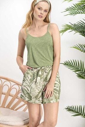 Arnetta Kadın Amazon Tropical Açık Haki Homewear Şort Takım
