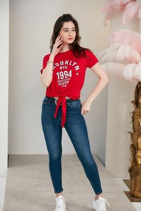Morpile Kadın Kirmizi Baskili Bel Bağlamali Tshirt A1556