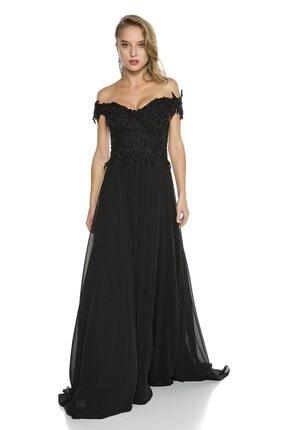 Abiye Sarayı Siyah Güpür Işlemeli Düşük Omuzlu Şifon Abiye Elbise