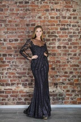 Abiye Sarayı Kadın Siyah Transparan Detaylı Simli Uzun Abiye Elbise
