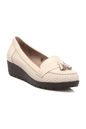 Tergan Hakiki Deri Bej-Deri Kadın Dolgu Topuklu Ayakkabı K19I1AY64203