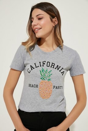 Zindi Kadın Ananas Baskılı Boncuklu T-Shirt Gri 19YK-1071010-005