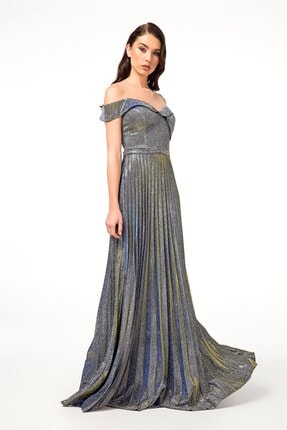 Abiye Sarayı Kadın Gri Bel Detaylı Pileli Uzun Abiye Elbise