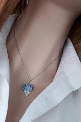 Rams Gümüş Mavi Renk Geçişli Asma Yaprağı Kolye