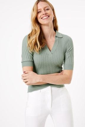 Marks & Spencer Kadın Yeşil Fitilli Kısa Kollu Kazak T38005927