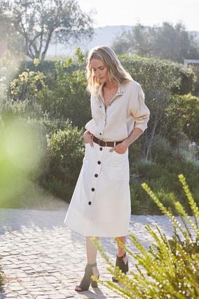 Marks & Spencer Kadın Beyaz Düğmeli Midi Etek T59007646