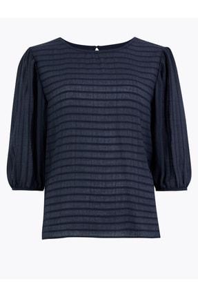 Marks & Spencer Kadın Lacivert Çizgili Uzun Kollu Bluz T53001030U