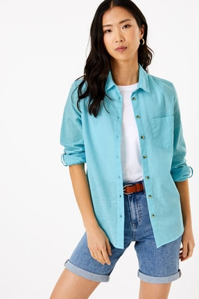 Marks & Spencer Kadın Mavi 3/4 Kollu Relaxed Gömlek T43004314
