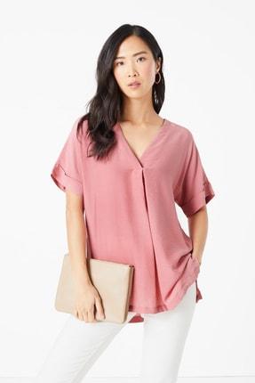 Marks & Spencer Kadın Pembe V Yaka Popover Bluz T43002583