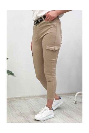 Madmext Mad Girls Slim Fit Kargo Cep Camel Kadın Pantolon Mg221