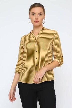 Chima Kadın Sarı Omzu Apoletli Gömlek K20GO107