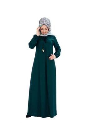 Kadın Zümrüt Yeşili Bağcık Detaylı Tesettür Elbise 0200SGS.ZMR