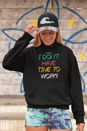 Angemiel Wear I Dont Have Time The Work Siyah Kadın Kapüşonlu Sweatshirt & Çanta Kombin