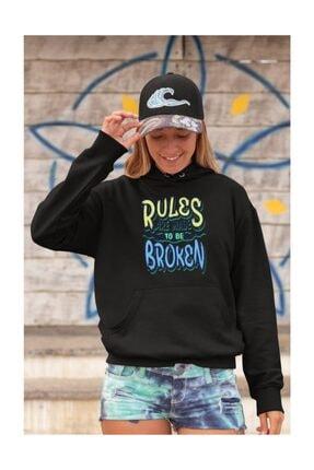 Angemiel Wear Rules Are Made To Be Broken Siyah Kadın Kapüşonlu Sweatshirt Çanta Kombin
