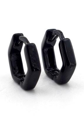 Solfera Köşeli Tasarım Siyah Çelik Erkek Küpe Çift Halka E596