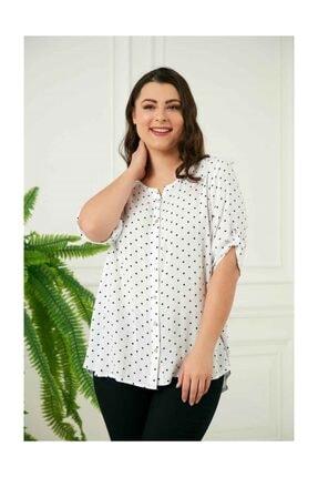 Rmg Puantiyeli Büyük Beden Gömlek - 4159 Beyaz