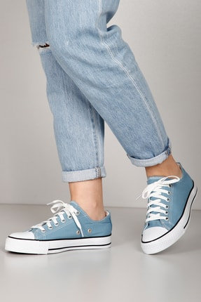 GÖN Mavi Keten Kadın  Sneaker 35222