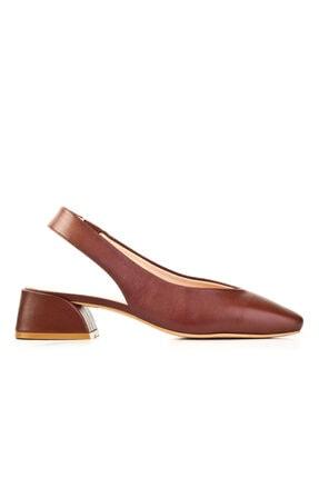 Cabani Kadın Taba 4 cm Topuklu Streç Detaylı Ayakkabı