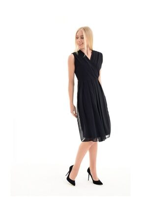 Sense Kadın Siyah Beli Kemerli Kruvaze Kolsuz Şifon Elbise Elb31542