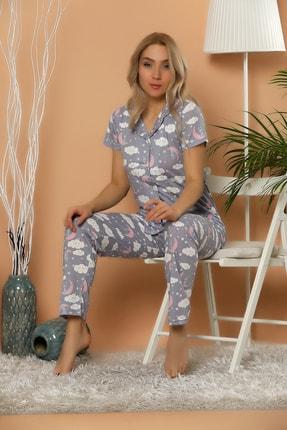 Elitol Kadın Desenli Düğmeli Pijama Takım