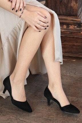 Mio Gusto Siyah Süet Kadın Topuklu Ayakkabı 09035BLS
