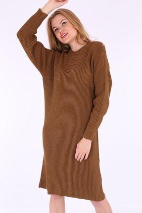 Bigdart Kadın Tarçın Omuz Düğmeli Triko Elbise 15633