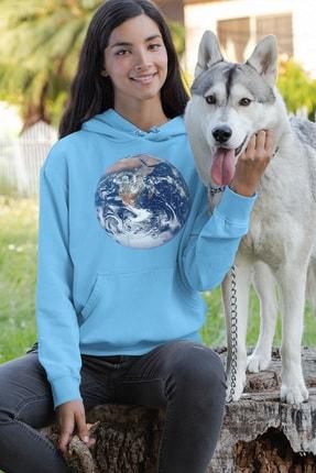 Angemiel Wear Dünya Mavi Kadın Kapüşonlu Sweatshirt Çanta Kombin