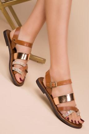 SOHO Hakiki Deri Taba-Bej Kadın Sandalet 14926