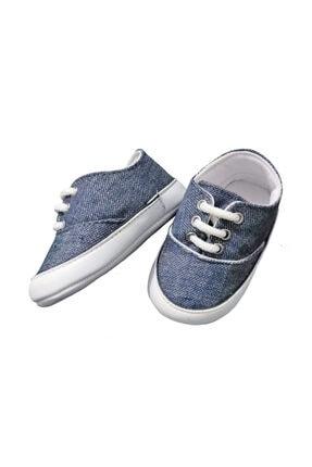 Bağcıklı Bez Bebek Patik Ayakkabı-mavi P20-4171
