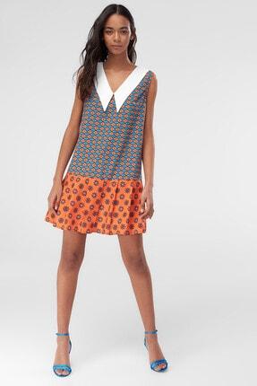 TrendyolMilla Çok Renkli Pileli Yaka Detaylı Elbise TWOSS20EL2795