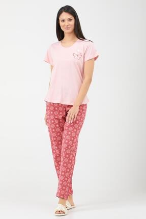 Sementa Kelebek Desen Kadın Ikili Pijama Takım - Pembe