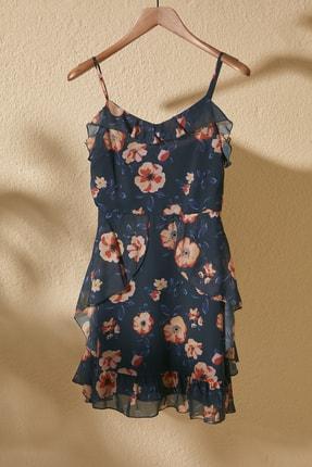 TrendyolMilla Lacivert Çiçek Desenli Elbise TWOSS20EL1267
