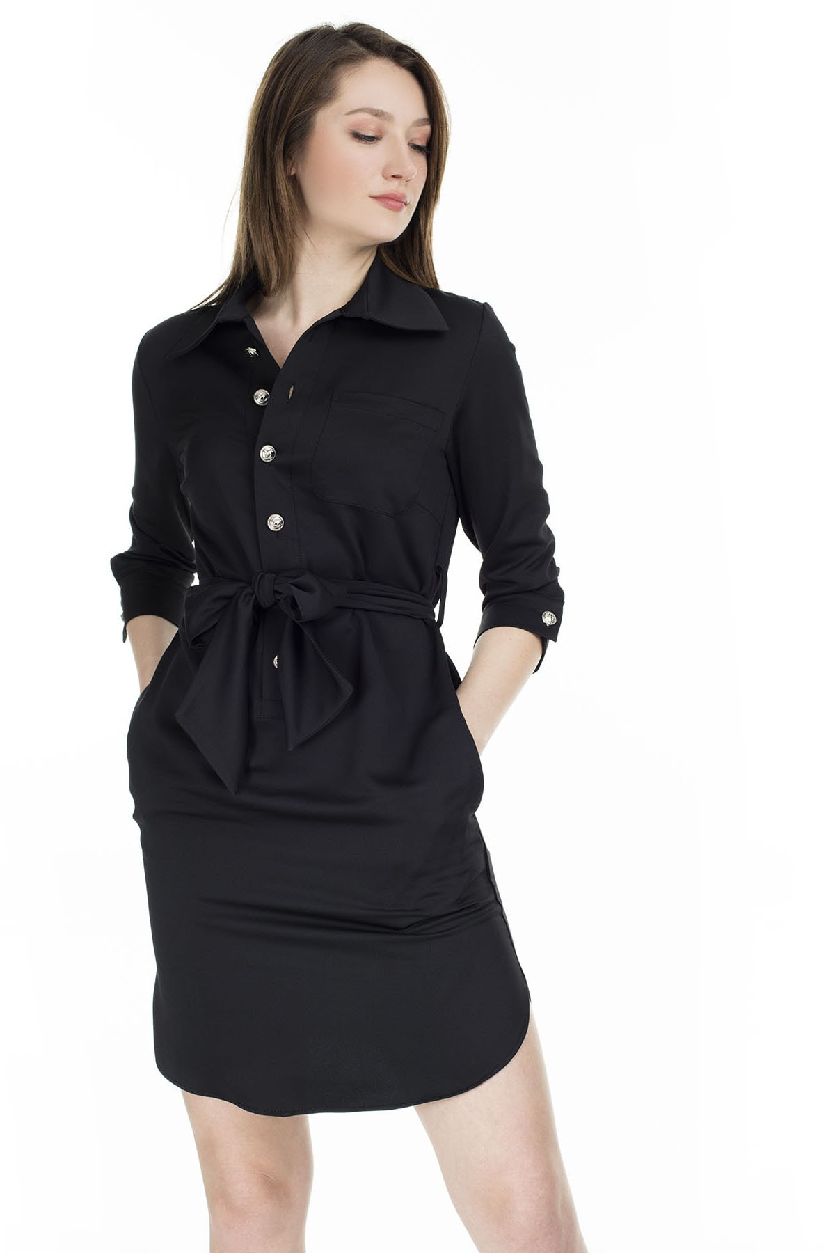 Ayhan Gömlek Yaka Belden Bağlamalı Elbise KADIN ELBİSE 04661410