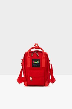 Bagmori Kırmızı Kadın Çapraz Kare Paraşüt Mini Çanta M000004373