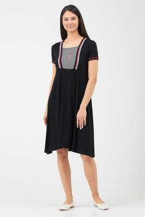 Sementa Kadın Yaka Şerit Detaylı Marine Elbise - Siyah