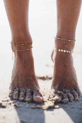 Hane14 Beach Minik Pullu Toplu Zincir Halhal 4'lü Gold