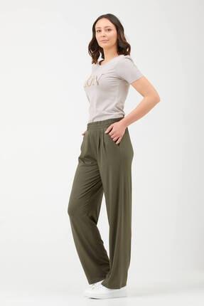 Sementa Kadın Piliseli Rahat Kesim Kadın Penye Pantolon - Haki