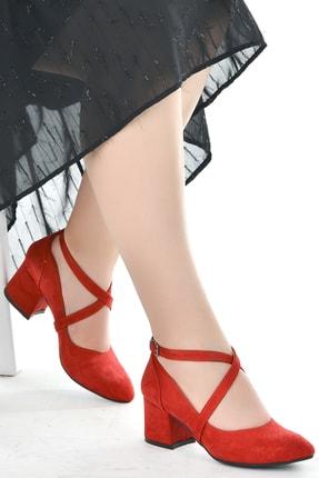 Ayakland 544-1121 Süet Babet 5 Cm Topuk Bayan Sandalet Ayakkabı
