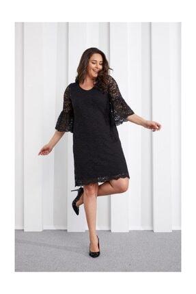 Seamoda Dantelli Abiye Elbise Siyah