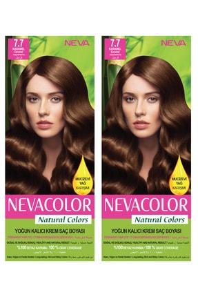 Neva Color 2'li Natural Colors 7.7 Karamel - Kalıcı Krem Saç Boyası Seti 8681655541780