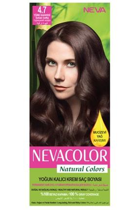 Neva Color Natural Colors 4.7 Türk Kahvesi - Kalıcı Krem Saç Boyası Seti 8681655541708