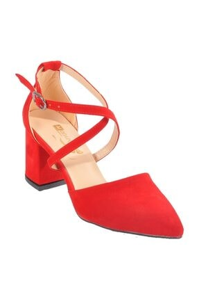 MAJE Kırmızı Süet Kadın Topuklu Ayakkabı 1901