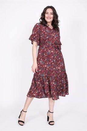 MYLİNE Kadın Yarım Kol Fırfır Detaylı Elbise