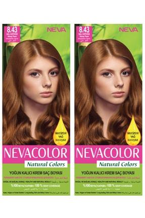 Neva Color 2'li Natural Colors 8.43 Bal Köpüğü - Kalıcı Krem Saç Boyası Seti
