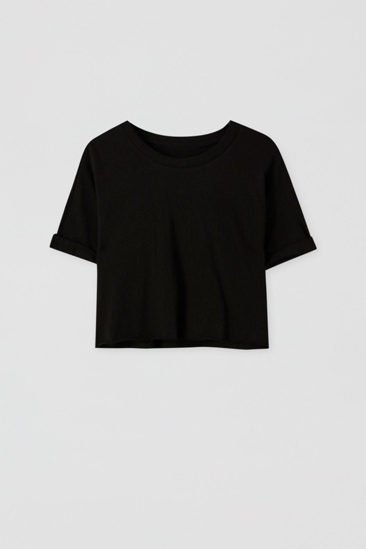 Pull & Bear Kadın Siyah Kenarı Dikişsiz Crop Fit T-Shirt 05236327
