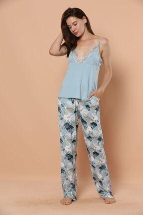 Siyah İnci Ip Askılı Dantel Detaylı Viskon Pijama Takım