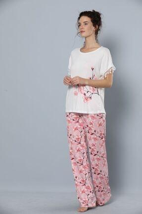 Siyah İnci Kadın Kısa Kollu Viskon Pijama Takım