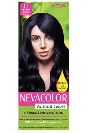 Neva Color Natural Colors 1.1 Mavi Siyah - Kalıcı Krem Saç Boyası Seti