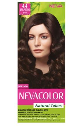 Neva Color Natural Colors 4.4 Orta Kestane - Kalıcı Krem Saç Boyası Seti